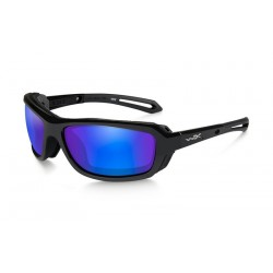 Okulary Wave Polarized Blue Mirror Green Lens Gloss Black Frame
